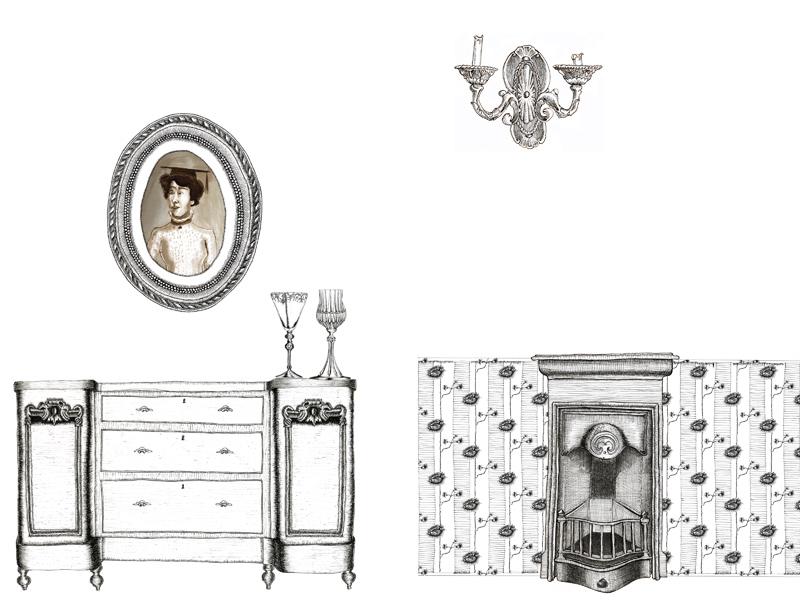 Salon de Mary Théâtre Virginia Woolf Une Chambre à soi compagnie l'Instant-Même dessins scénographie Essi Esther Berelowitsch