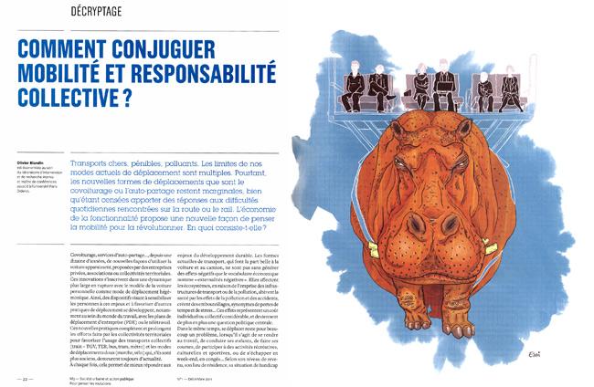 magazine M3 n°1 prospective Grand Lyon économie de la fonctionnalité transport hippopotame dessin Essi